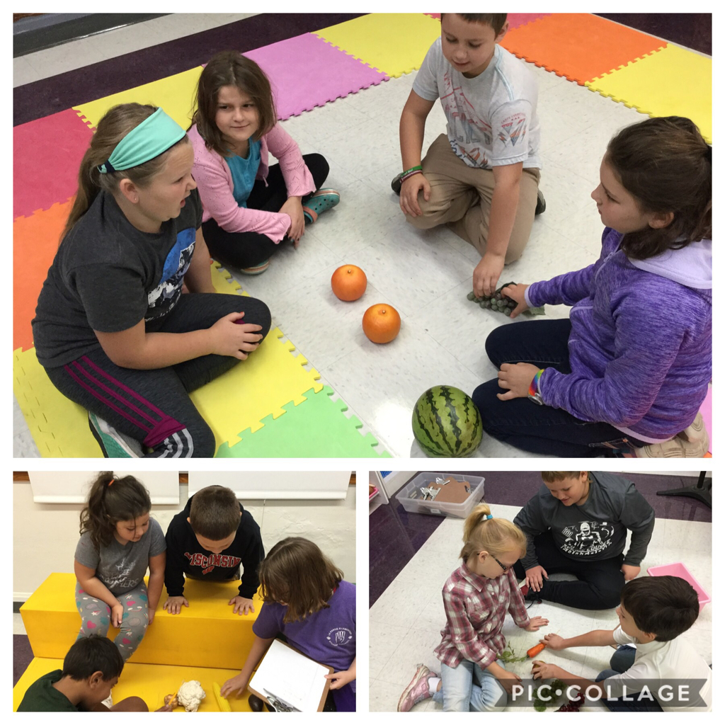 Fourth graders make rhythms with fruits and vegetables.