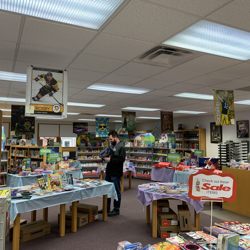 Mr. Hansen got a sneak peak at the Book Fair on Friday.  The Fair will be open for business Monday morning and through the week.  Be sure to stop in for Family Night Monday from 4-7 PM.