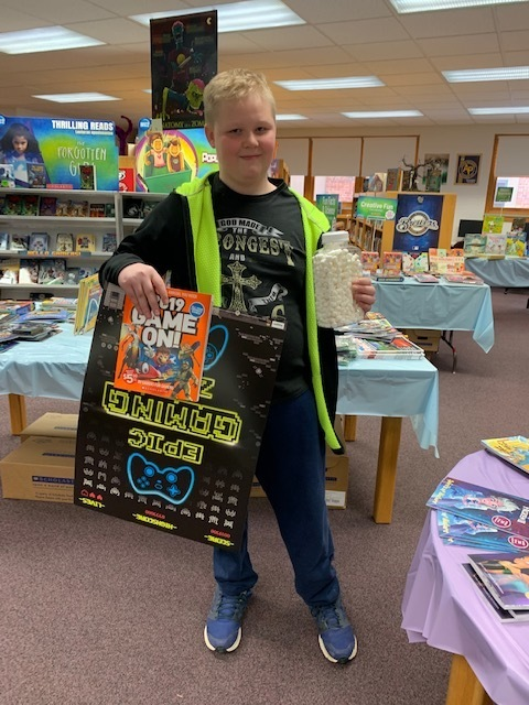 "Congratulation to Aydan for winning the ""Guess the Snowballs"" contest and winning book fair merchandise!  The fair ends today at 3:45, but you can still make last-minute purchases Monday morning."