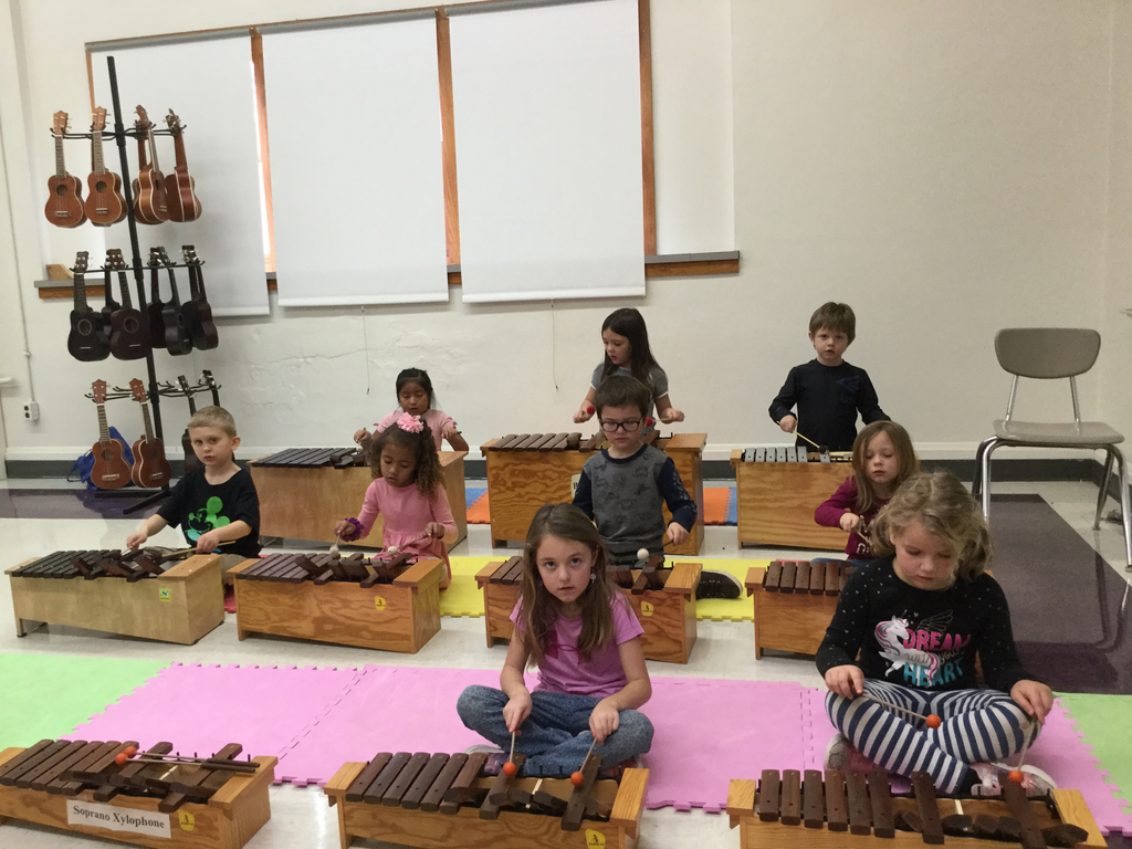 First graders playing xylophone
