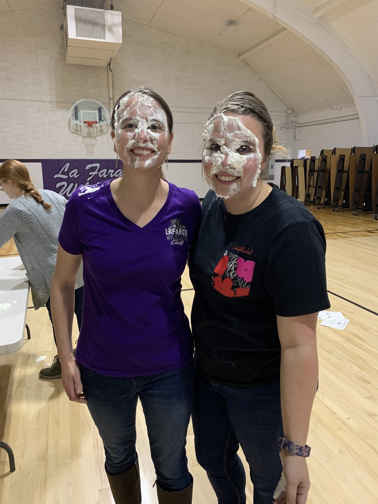 Ms. Haugo and Mrs. Benson after the pieing
