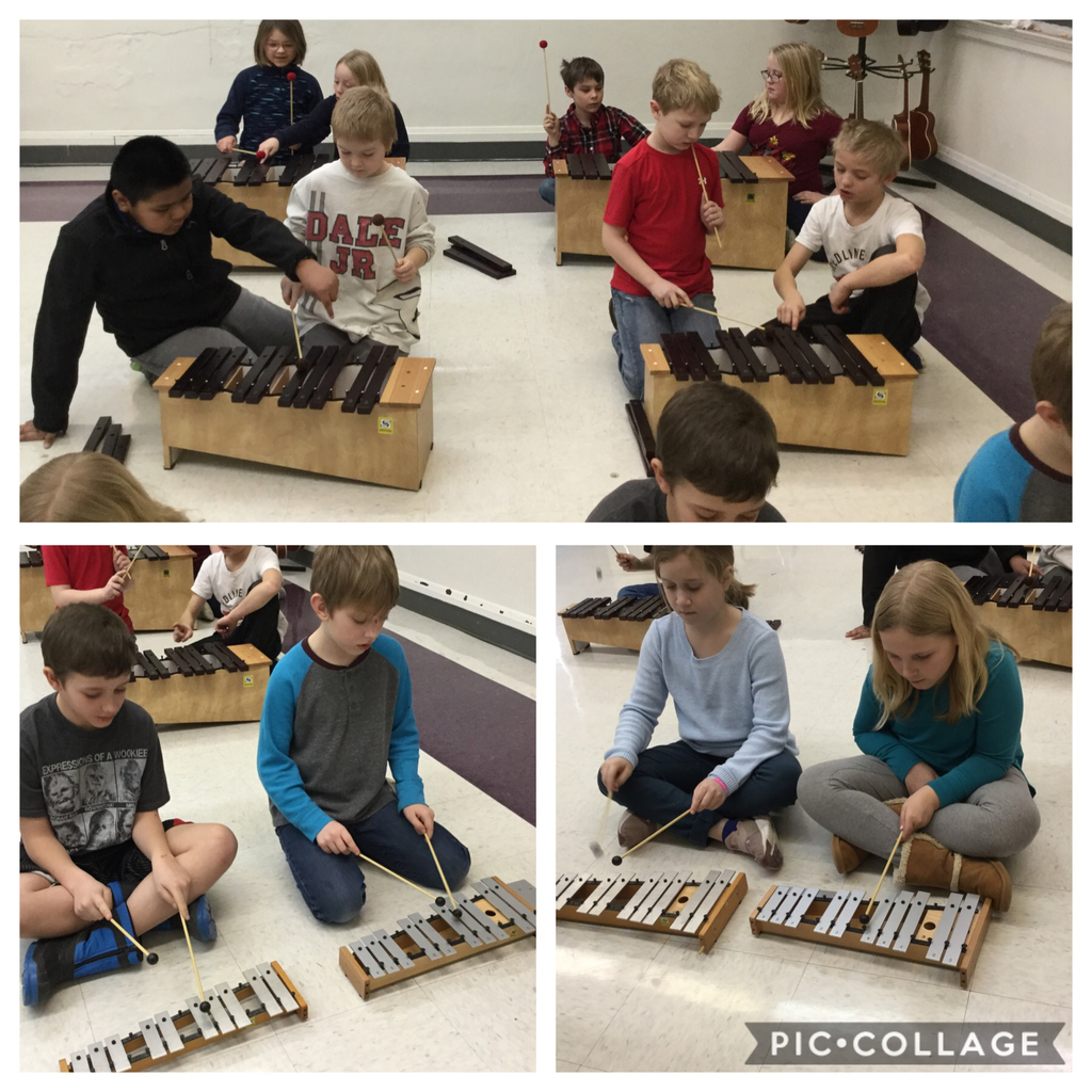 Third graders play instruments.